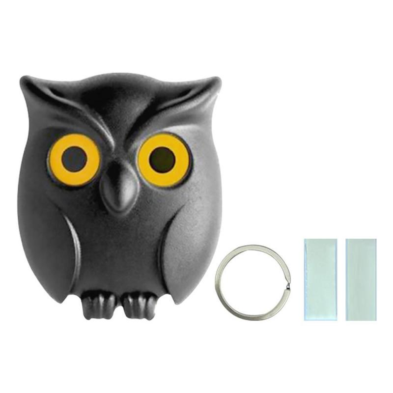 1PCS Black Night Owl Magnetic Wall Key Holder Magnets Keep Keychains Key Hanger Hook Hanging Key It Will Open Eyes Owl Organizer