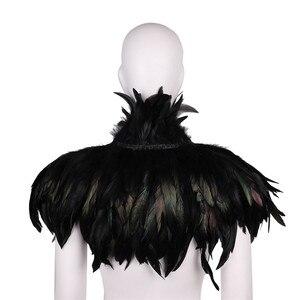 Image 4 - Frauen Retro Vintage Gothic Natürliche Feder Cape Schal Stola mit Halsband Kragen für Maskerade Lagerfeuer Party Leistung Kostüm