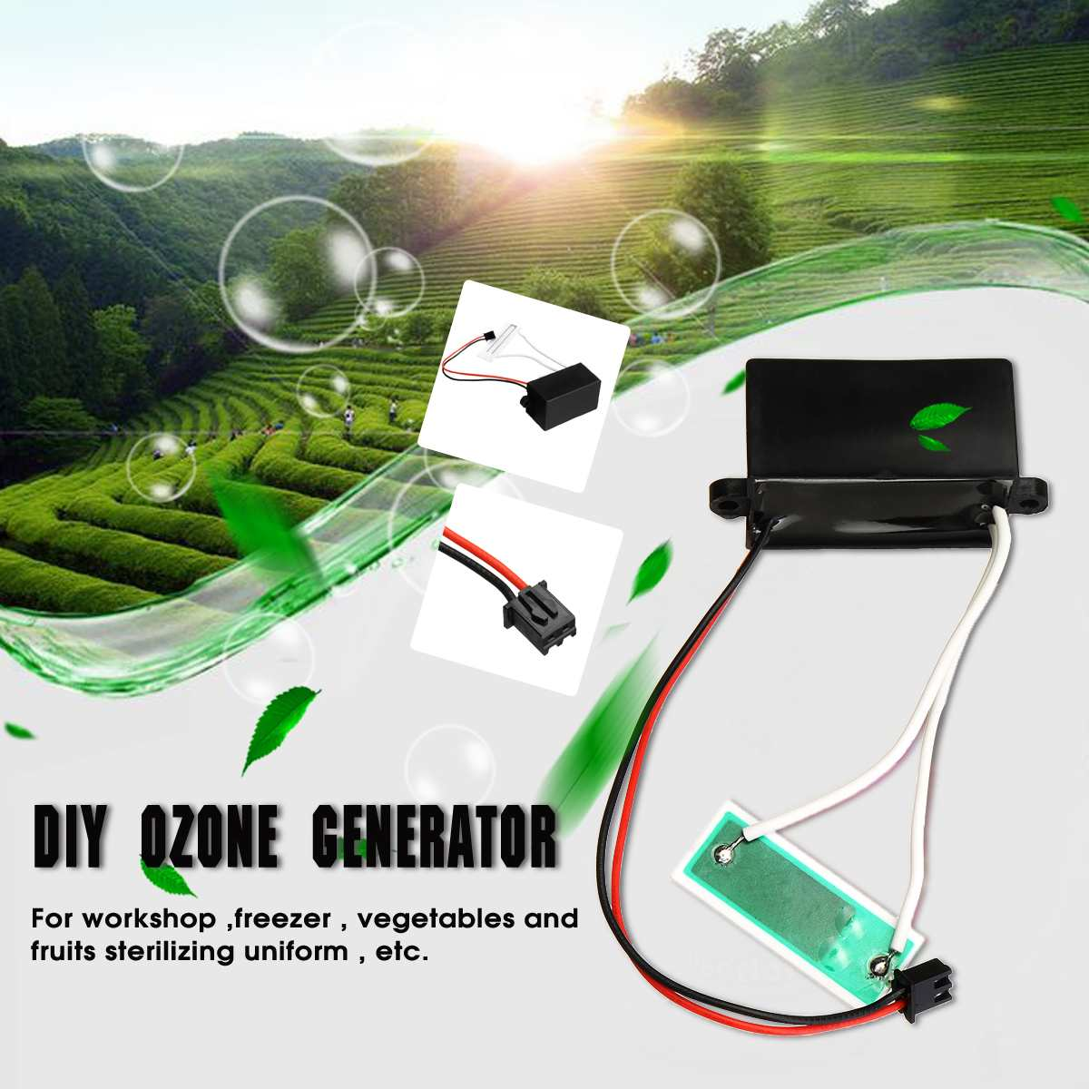DC 12V Black DIY Ozone Generator Air Purifiers For Home Air Purification Disinfection Vegetable Fruit 200mg/H
