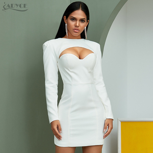 Image 2 - Adyce新秋の女性ホワイトボディコンセレブイブニングパーティードレスvestidosセクシーな長袖ストラップレスミニ滑走路クラブドレス