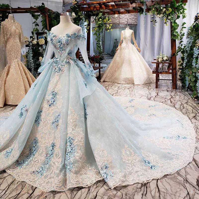 BGW 21423ht Elegante Vestito Da Sera Blu Appliques Fiori O-Collo Lace Up Posteriore abito Lungo Delle Donne Del Vestito Convenzionale Robe Soiree Manche Longue