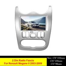 Double 2 Din DVD Radio Frame Audio Fascia For Renault Logan Sandero Duster Dacia Navigation Facia Console Bezel Adapter Plate