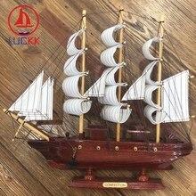 LUCKK 33CM Marine Craft Wooden Sailing Figurine Boat Ornaments Red Retro Desktop Decor Miniature Model Christmas Birthday Gifts