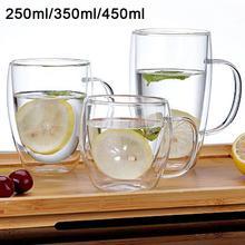 250/350/450ml прозрачный Стекло стакана воды Кофе кружка с двойными стенками Изолированные одной ручкой питьевой воды кран Стекло чашка для питья питьевой кружки