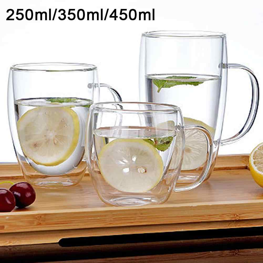250/350/450ml Clear Glass Water Cup Coffee Mug Double Wall Insulated Handle Drinking Glass Cup Drinkware Drinking Mugs