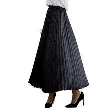 Женская длинная юбка миди из сетчатой ткани размера плюс 5XL, плиссированные юбки в английском стиле, женские юбки на осень и весну, эластичные юбки с высокой талией, новинка