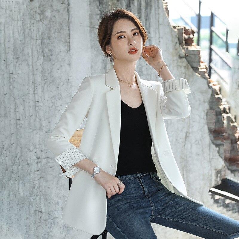 Women's White Jacket High Quality Temperament Loose Ladies Large Size Blazer 2019 New Elegant Autumn Women's Clothing 4 Colors