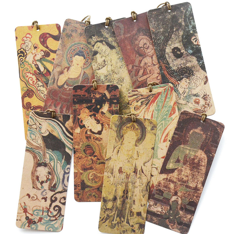 10 Pcs/Set Creative Dunhuang Mogao Grottoes Murals Bookmarks Cardboard Book Holder Message Card Gift Stationery