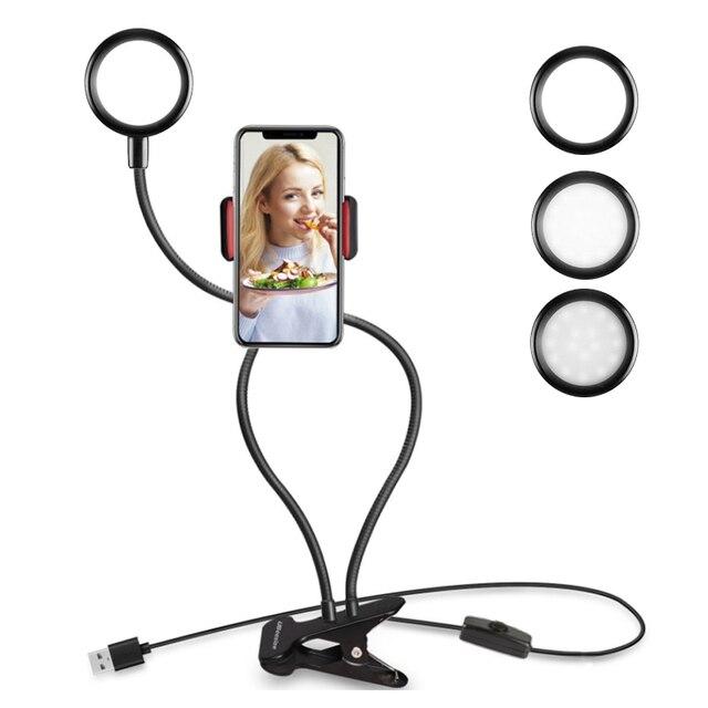 אוניברסלי Selfie טבעת אור עם גמיש נייד טלפון מחזיק סוגר עצלן שולחן מנורת LED אור עבור לחיות זרם משרד מטבח