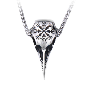 steel soldier stainless steel Viking raven rune magic pendant necklace for men popular charm chain nordic jewelry(China)