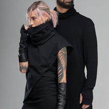 HEFLASHOR 2020 New Autumn Winter Men's Turtleneck Sweater Black Sexy Hanging Ears Design Slim Fit Sweater Male Knitted Pullovers(China)
