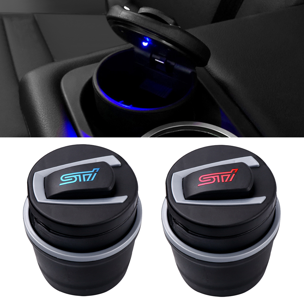 New Auto Ashtray WRX STI Emblem LED Light Truck Car Cigarette Fireproof Cup For SUBARU Outback XV BRZ Interior Accessories