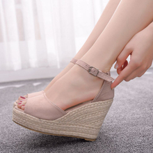 Summer Sexy Woman Wedge Sandals Fashion Straw Platform Ladies High Heel Shoes Women Buckle Strap Open Toe Casual Female Footwear maxmuxun women shoes comfort slip on classic high platform wedge sandals 2018 summer ladies open toe buckle strap thick shoes