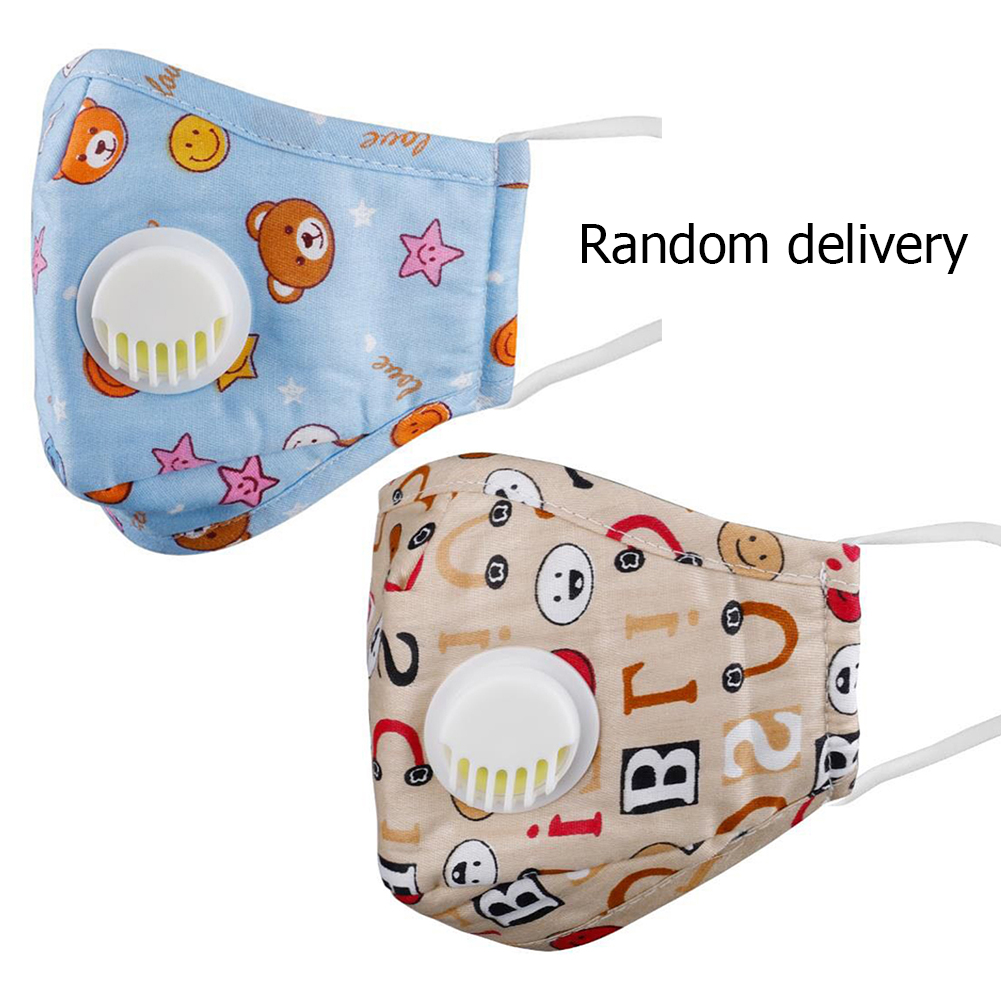 PM2.5 Mouth Mask Washable Children Mouth Mask Kids Folding Respirator With Valve Can Put Filter Random Type