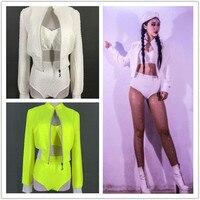 Female Singer DJ Jazz Dance Hip Hop Costume Fluorescent Green High Waist Shorts Bra Coat Crystal 3 Piece Set Nightclub Outfit