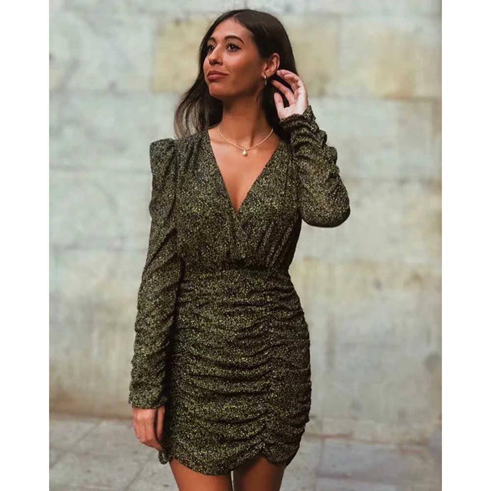 Za novo vestido de mulher verde impressão com decote em v mini vestido plissado chique senhoras moda sexy streetwear vestidos femininos