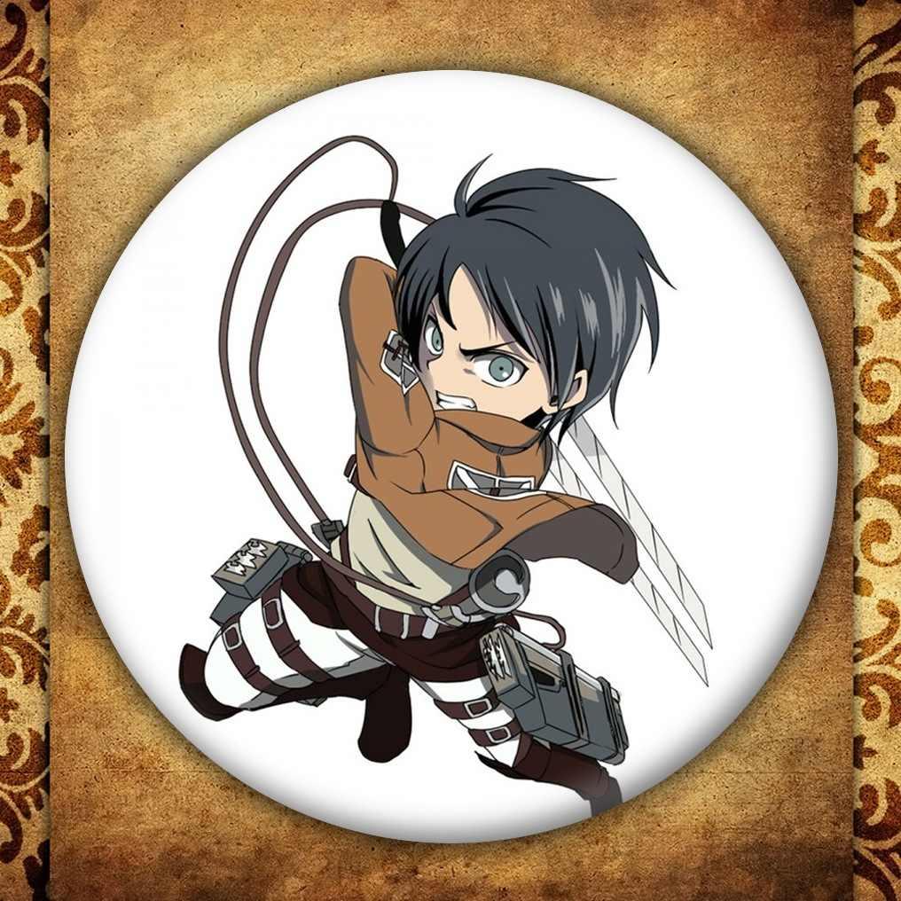 Anime Titan ekran rozeti japon karikatür figürü Eren Cosplay sırt çantaları düğme giysi broş Pin koleksiyonu