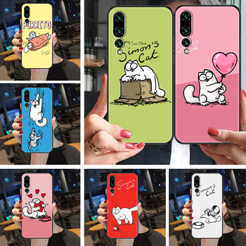 Cute Simons Cat Phone case For Huawei P Mate Y3 Y9 10 20 30 40 Smart Z Pro Lite 2017 2019 black painting cell cover soft coque image