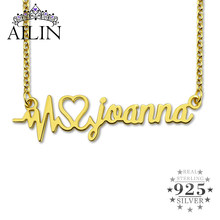 AILIN 925 Sterling Silver Necklace For Women 18K Gold Plated Heart Beat Personalised Name Necklace Custom Girlfriends Jewelry(China)