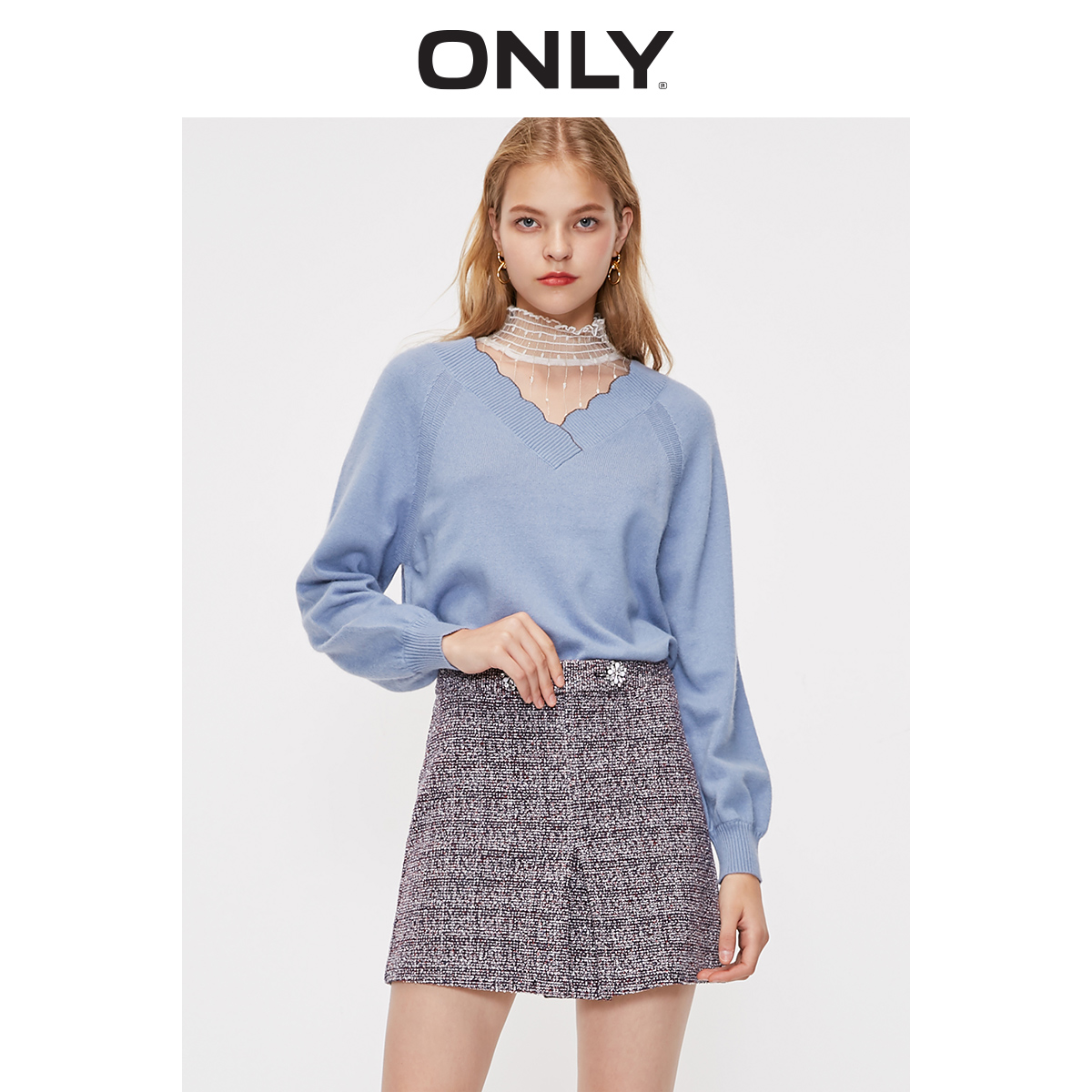 New ONLY2019 Winter Sweet Lace Collar Off Two Sweater Knit Female   119113534