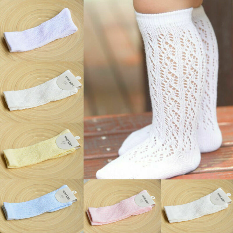 Baby Girl Kid Infant Toddler Cotton Knee High Letter Casual Princess Socks Fishnet 0-4 Years