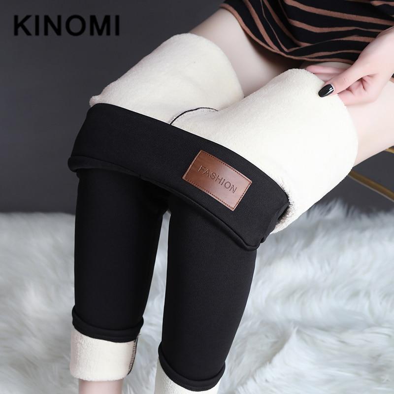 KINOMI Warm Casual Pants Winter Skinny Thick Velvet Wool Fleece Trousers Lambskin Cashmere Pants For Women Black 2019 Plus Size