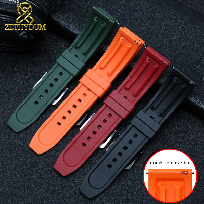 Image 2 - fluororubber watch strap Silicone Rubber bracelet quick release bar 22mm watchband for huawei watches other brands watch band-in Watchbands from Watches
