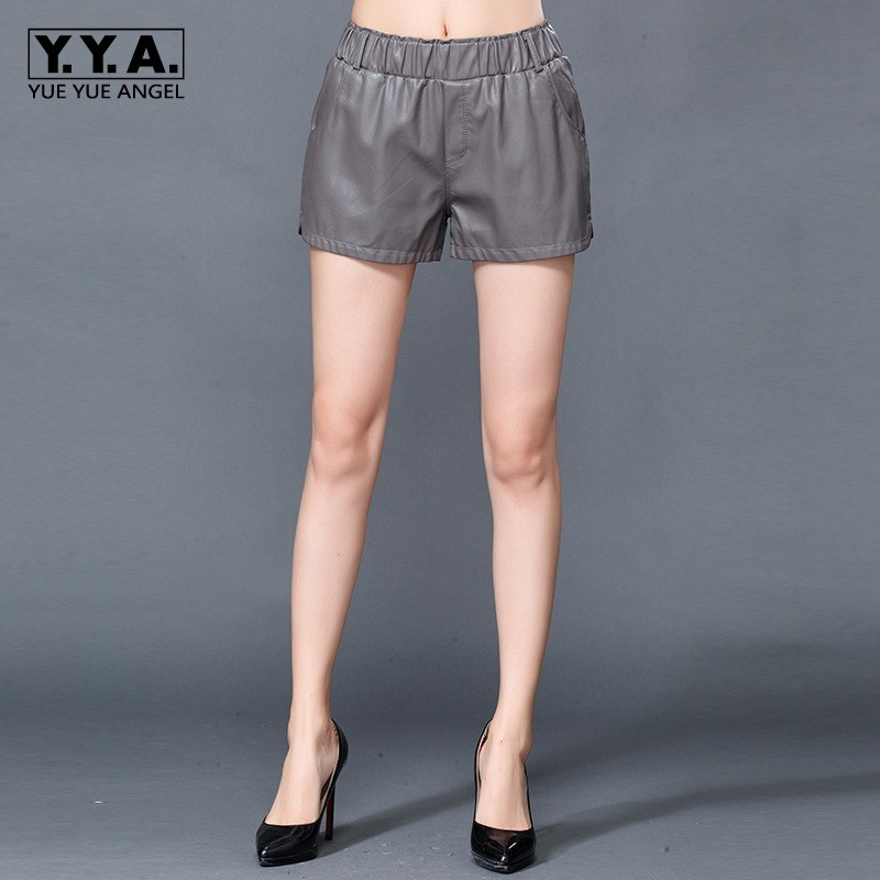 High Quality New Ladies Sheepskin Genuine Leather Shorts Slim Fit Punk Casual Elastic Waist Wide Leg Short Trousers For Women