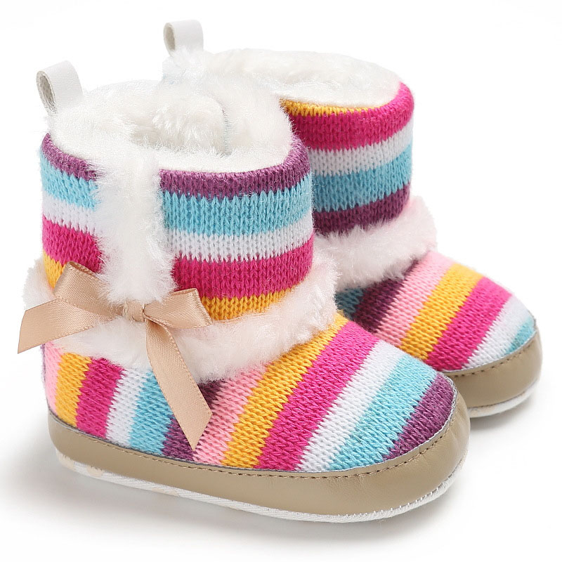 Lovely Rainbow Bowknot Baby Boots For Newborn Soft Sole Snow Warm Boots Toddler Winter Boots Shoes For Baby Girl