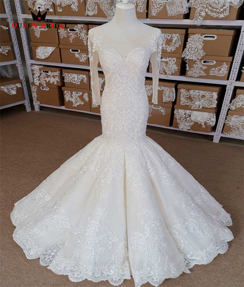 Sexy Wedding Dress Mermaid Long Sleeve Tulle Lace Beading Appliques 100% Real Photos Bridal Dress Custom Made SH018
