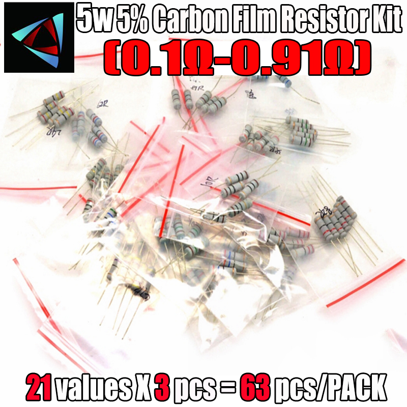 63PCS/LOT 5W Resistor Package 5% 0.1R-0.91 21Values*3=63Pcs Carbon Film Resistor Commonly Kits Metal Oxide Film Resistors Kit