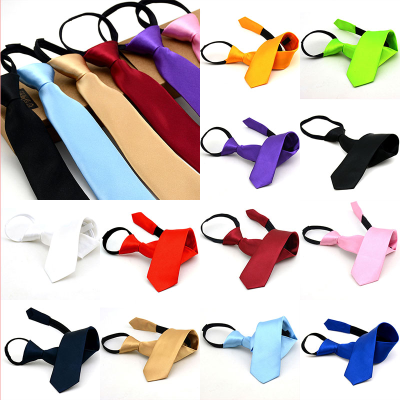 1 PC Kids Pre-tied Neck Tie Casual Skinny Zipper Ties Solid Color Slim Narrow  Birthday Party Dress Necktie Christmas Halloween
