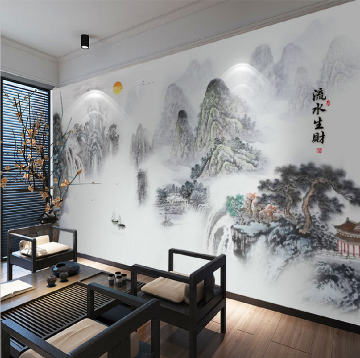 3D Ink Mountain Chinese Style Wallpaper Seamless Large Mural Wallpaper Living Room Television Background Wall Mountains And Rive