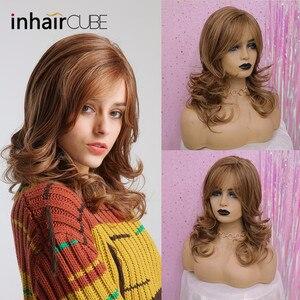 """Image 5 - Inhair קוביית ארוך גלי טבעי חום קוספליי פאות 18 """"טבעי נשים של פאת תלבושות המפלגה חום עמיד סינטטי מזויף שיער חתיכות"""