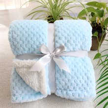 3D fluffy super soft kids bed spread pink blue cozy baby blanket spring toddler bedding quilt coral fleece furry child blanket(China)