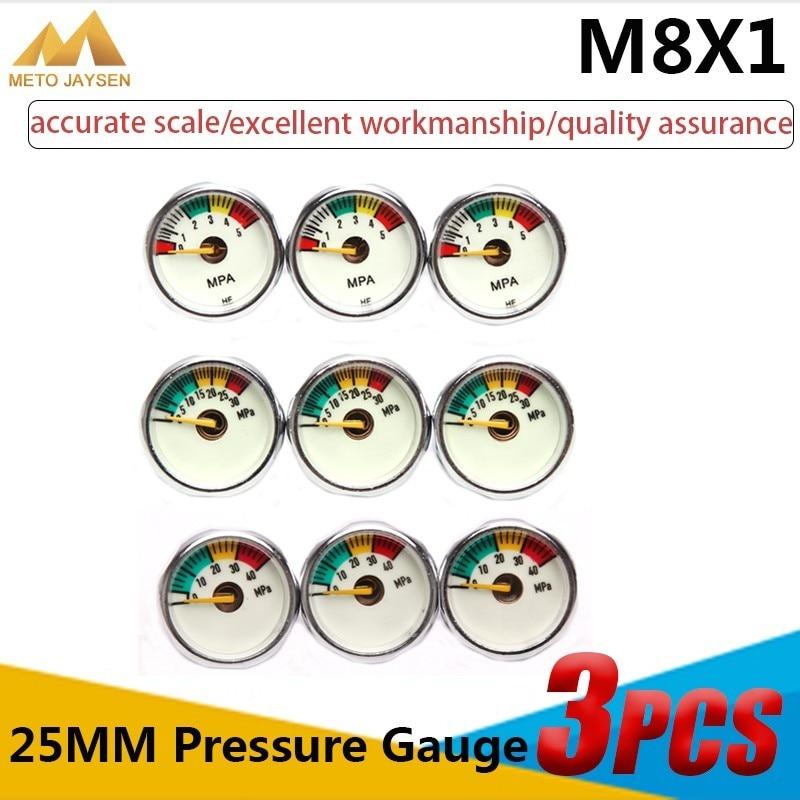 25mm M8x1 High Pressure Gauge 1 Inch Manometre PCP Paintball Airforce Pump Scuba Diving Valve Gauge 5mpa 30mpa 40mpa 3pcs/set