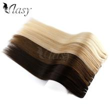 "Vlasy 24"" 115g Full Head Machine Made Remy Human Hair 7pcs/set Natural Straight Clip In Human Hair Extensions"