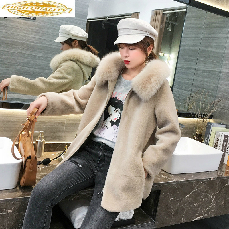 Sheep Shearing Real Fur Coat 100% Wool Jacket Women Clothes 2019 Fox Fur Collar Winter Coat Women Korean Fur Tops 19509 YY1882