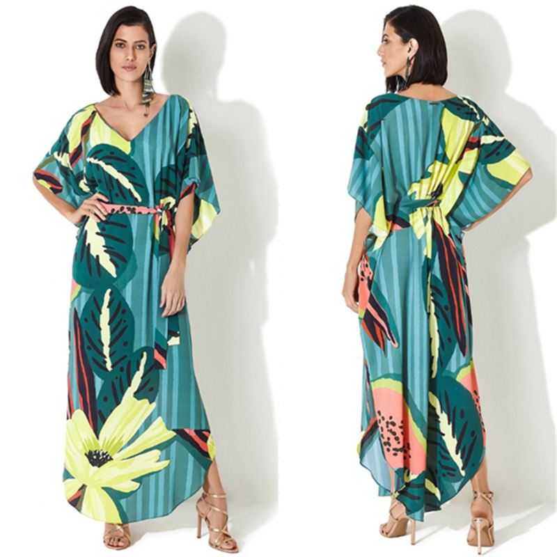 Europe And America Quick-Dry Dacron Green Leaf Watermelon Printed Beach Cover-up Holiday Long Skirts Bikini Outer Blouse