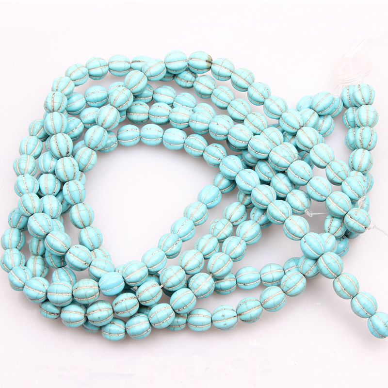 Round Turquois Pumpkin Bead 10/12/14mm Howlite Carve Lantern Loose Spacer Bead Fit Necklace Making For Jewelry Making 15?? inch