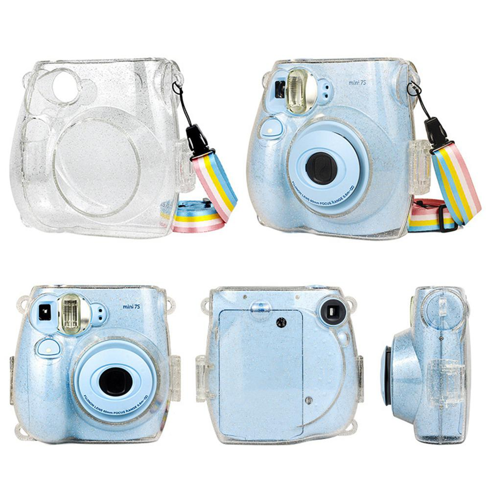 Pink Polaroid Camera Protective Case With Transparent Crystal Cover For Fuji Mini Instax 7s 7C Shoulder Portable Camera Bag