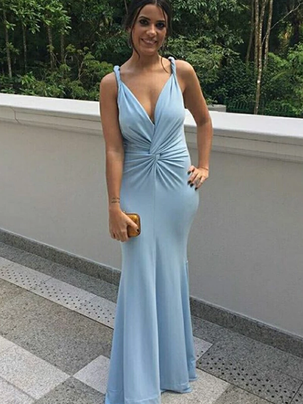 Vestido Madrinha Pale Blue Mermaid Bridesmaid Dresses Long Wedding Guest Dress Open Back Vestido De Festa