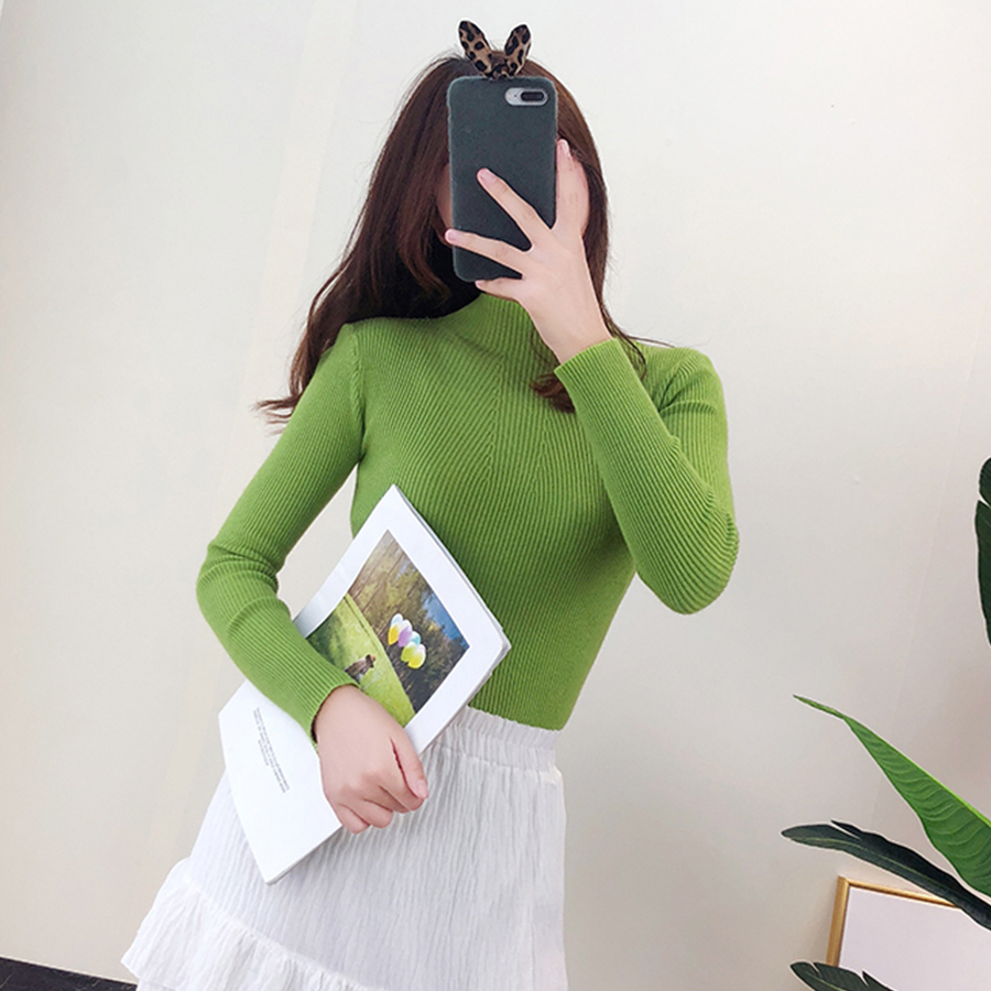 Solid Turtleneck Slim Sweater Women Casual Autumn Winter Warm Bottoming Pullover Tops Female Comfortable Wild Knitted Tops New