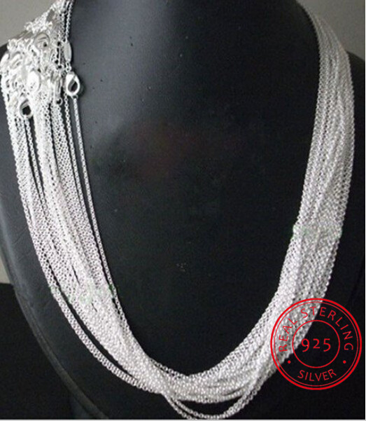 10pcs/lot Promotion! wholesale 925 sterling silver necklace, silver fine jewelry Rolo Chain 1mm Necklace 16 18 20 22 24
