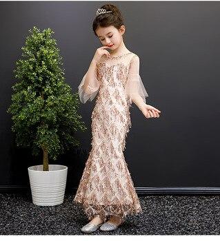 Flower girl  Dresses for party elegant long Crystal Beading evening  gown 2020 Kids slim fishtail wedding dress show costume
