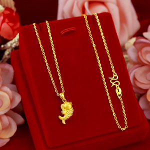 Korean Real 24K Gold Necklace Pendant for Women Gold Jewelry Lucky Fish Pendant Chain Necklace Choker Anniversary Birthday Gifts