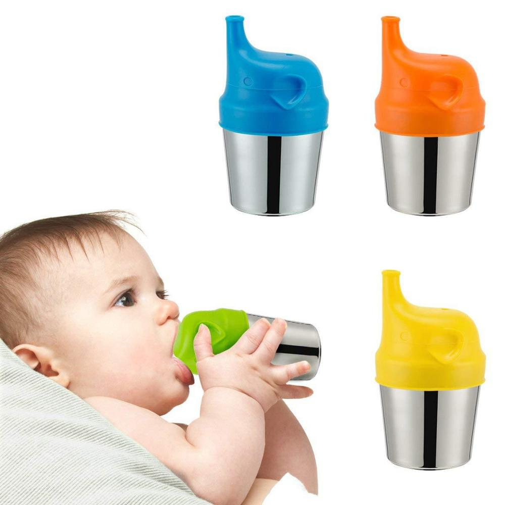 1 PC Baby Cup Silicone Lids Reuseable Spillproof Cup Cover Cartoon Training Drinking Cup Cover Kids Feeding Drinking Accessories