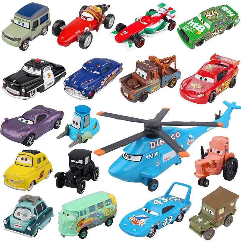 Disney Pixar-Coche de juguete de Metal fundido a presión para niños, coche de juguete de Rayo McQueen, Jackson, Storm, doctor, Kennedy Mater 1:55
