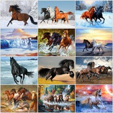 GATYZTORY Diamond Painting Horse Full Square Embroidery Animals Picture 5D Diy Mosaic Rhinestone Home Decor Gift gatyztory full square diamond painting landscape 5d diy diamond mosaic picture of rhinestone embroidery decor home