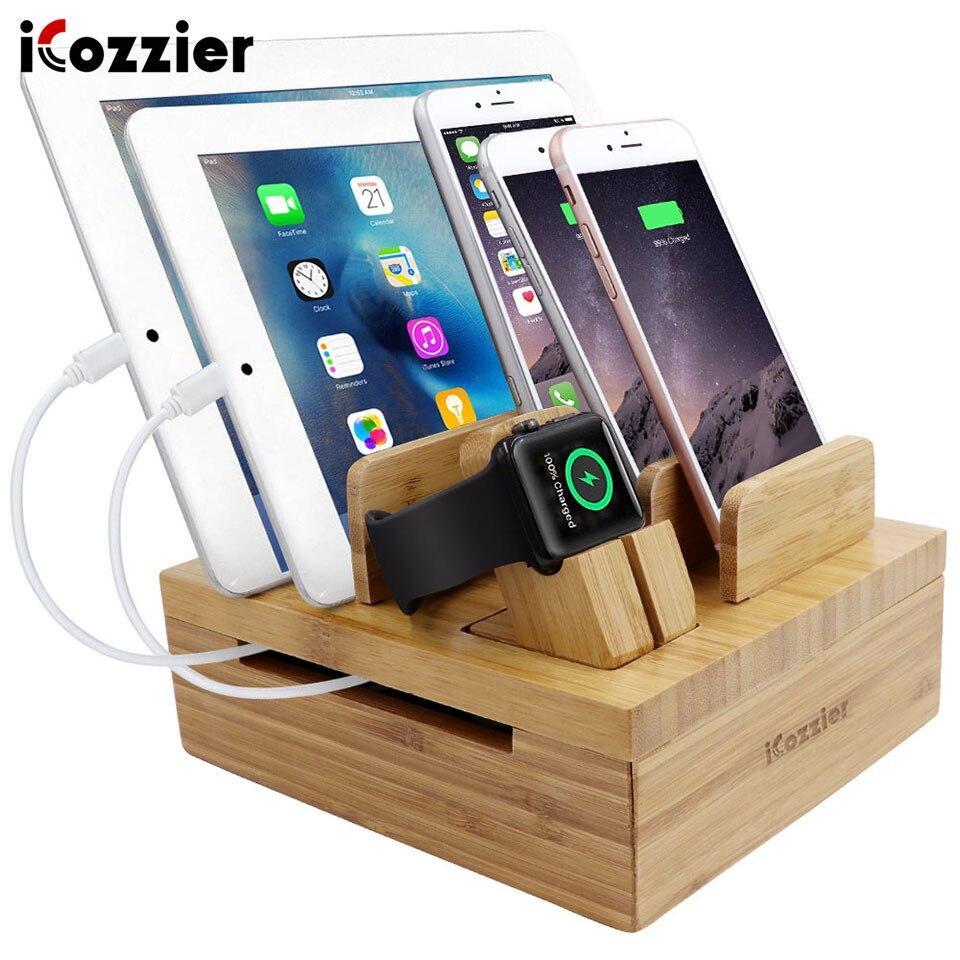 Bambus 5 Steckplatzen Tablet-und Handyhalter Desktopspeicher für iPad/ich Uhr-Stander/Ladestation für mehrere Gerate